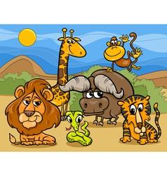 wild animals group cartoon vector image