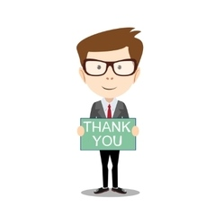 Businessman hands holding Thank you sign vector image