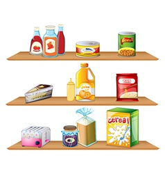 Three wooden shelves vector