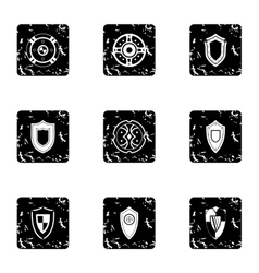 Military shieldd icons set grunge style vector