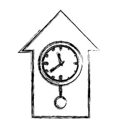 Monochrome blurred silhouette with cuckoo clock vector