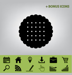 Round biscuit sign  black icon at gray vector