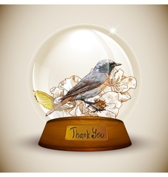 Crystal globe with flower and bird vector image