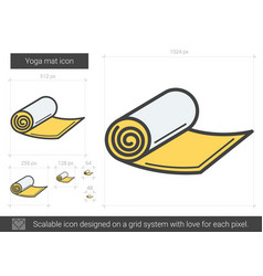 Yoga mat line icon vector