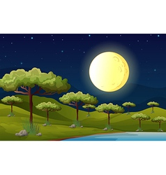 A bright fullmoon lighting the forest vector