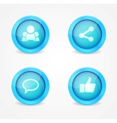 Set of glossy social icons vector