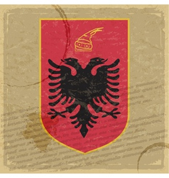Coat of arms of Albania on the old postage stamp vector image