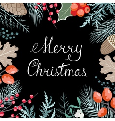 Christmas floral card vector