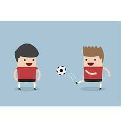Two men playing soccer or football vector