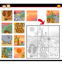 Cartoon safari animals jigsaw game vector