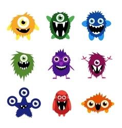 Set of cartoon cute monsters and aliens vector
