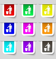 Throw away the trash icon sign set of multicolored vector