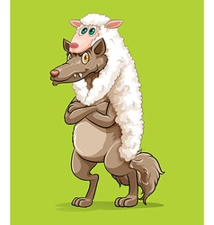 Wolf wearing sheep fur vector