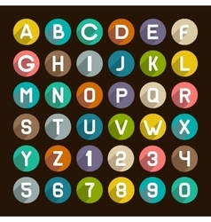 Flat style alphabet icons set numbers and letters vector