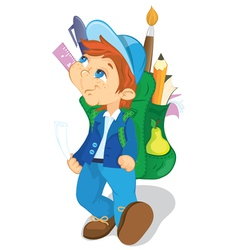 boy with backpack goes to school vector image