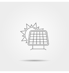 Sun with solar panel line icon vector