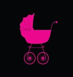 Baby carriage pink vector