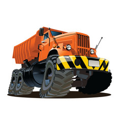 Cartoon dump truck 6x6 vector