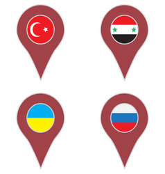 Pin location country set vector