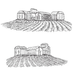 Landscape with fields and village house vector