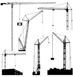 Set of black hoisting cranes isolated on white vector image