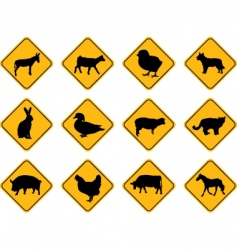 Farm animals signs vector