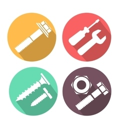 Bolt and nut flat icon vector