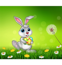 Happy little bunny holding easter eggs on grass vector