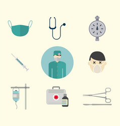 Ambulance icons medicine health emergency vector