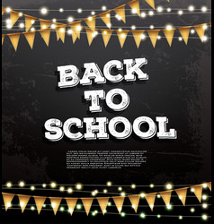 Back to school template with neon garlands and vector