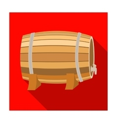 Barrel of wine icon in flat style isolated on vector