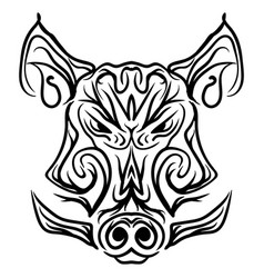 Boar head black and white isolated tattoo vector