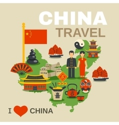 Chinese culture traditions travel agency poster vector