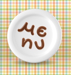 Chocolate menu word on plate vector image vector image