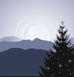 Christmas Tree silhouette on a mountain background vector image vector image