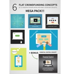 crowdfunding concept set in flat design - vector image vector image