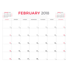 february 2018 calendar planner design template vector image