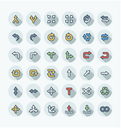 flat color thin line icons set with arrows vector image vector image