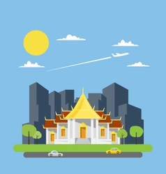 Flat design of thai temple vector