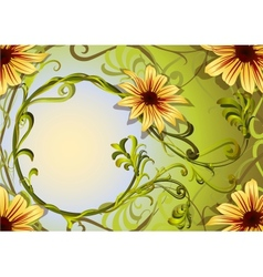 Floral background with weaving plants and yellow vector image vector image