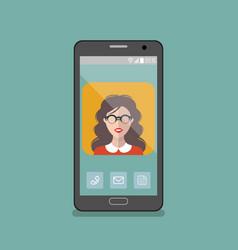 Girl in glasses app icon on vector
