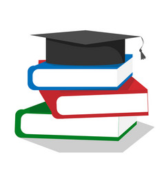 Graduation cap on stuck of books vector