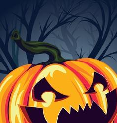 Halloween Pumpkin in the Forest vector image vector image