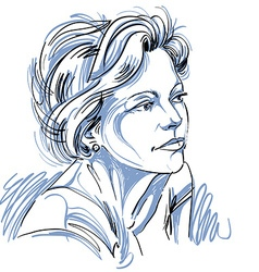 Hand drawn beautiful dreamy woman attractive fema vector image