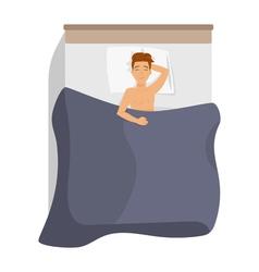 Happy man sleeping in bed vector