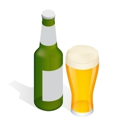 Isometric Bottle of beer with drops and Glass vector image vector image