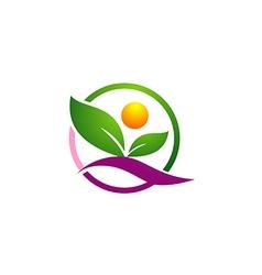 leaf organic nature people logo vector image
