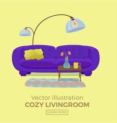 Living room cozy interior vector