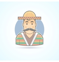 Mexican man in traditional clothes icon vector image vector image
