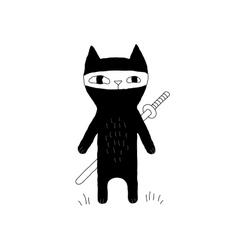 Ninja Cat Drawing vector image